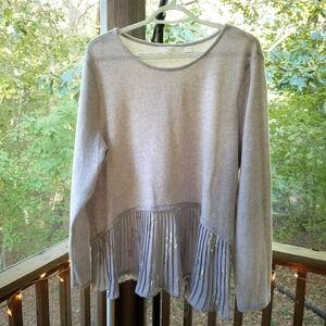 Lauren Conrad Light Gray Sweater w Pleated Hem XXL